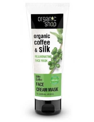 Organic Shop Odmładzająca kremowa maska do twarzy Zielona Kawa & Jedwab