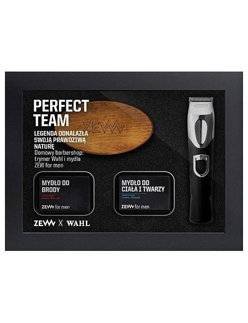 ZEW Zestaw Domowy Barbershop - szczotka, kosmetyki do brody i trymer WAHL