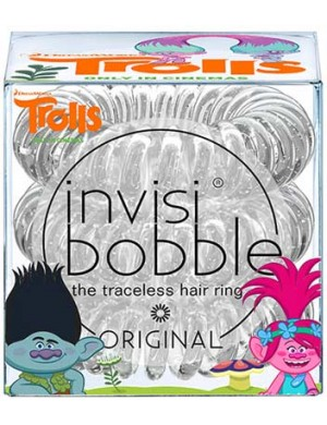 InvisiBobble Trolls Gumki do włosów z brokatem Sparkling Clear