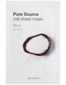 Bawełniana maseczka w płachcie z ekstraktem z ryżu - Missha Pure Source Cell Rice