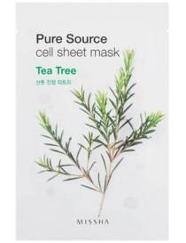 Bawełniana maseczka w płachcie z ekstraktem z drzewa herbacianego - Missha Pure Source Cell Tea Tree