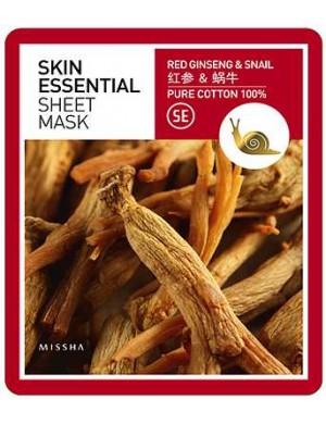 Maseczka w płachcie z żeń-szeniem i śluzem ślimaka - Missha Essential Sheet Mask