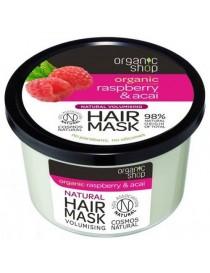 Wzmacniająca maska do włosów zwiększająca objętość Malina & Acai - Organic Shop