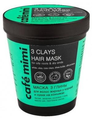 CAFE MIMI Maska 3 Glinki do włosów tłustych u nasady i suchych na końcach 220ml