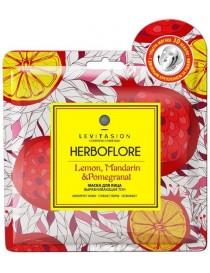 Maska w płachcie wyrównująca koloryt z cytryną, mandarynką i granatem - Herboflore