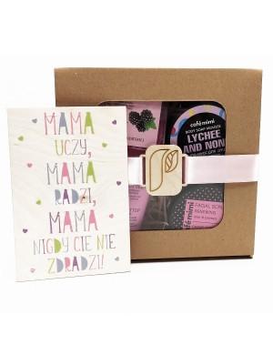 Różowy zestaw kosmetyków na Dzień Mamy + kartka – Cafe Mimi