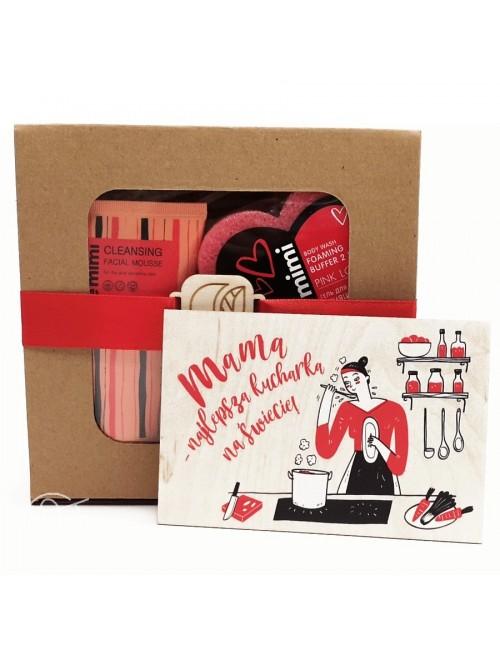 Czerwony zestaw kosmetyków na Dzień Mamy + kartka – Cafe Mimi