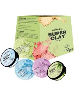 Zestaw kosmetyków Super Clay – Peeling, 3x Maska, Krem – Cafe Mimi