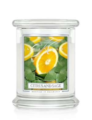 Kringle Candle Świeca zapachowa Medium 2 Wick Jar - Citrus & Sage