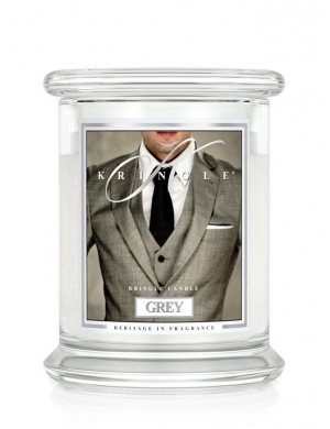 Kringle Candle Świeca zapachowa Medium 2 Wick Jar - Grey