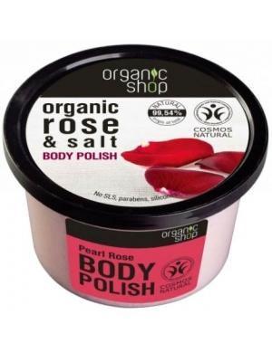Organic Shop Organiczny solny scrub do ciała Perłowa Róża