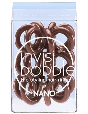 Invisibobble Nano, Gumki do upinania i stylizacji włosów - Pretzel Brown
